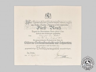 Reuß, Principality. A Silver Merit Medal with Swords Award Document to Army Telegrapher Perthel, 1918