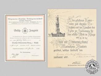 Germany, Weimar Republic. Two Award Documents, Flanders Cross & German Cross