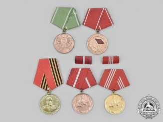Germany, German Democratic Republic; Russia, Federation. Lot of Five Medals