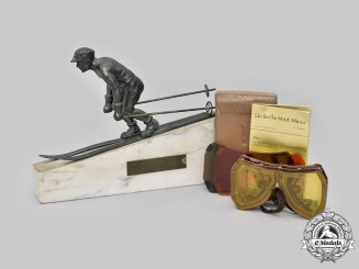 Slovakia. I Republic. A 1940 Downhill Ski Victor's Trophy, with Goggles