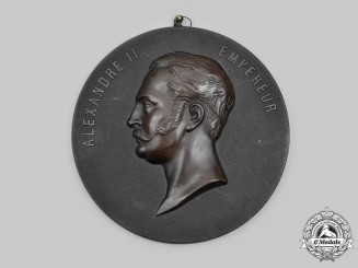 Russia, Imperial. A French-Made Bois Durci Tsar Alexander II Plaque