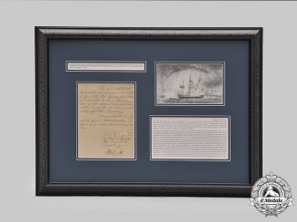 United Kingdom. A Letter Certifying First-Lieutenant Charles Richardson's Service Aboard HMS Circe, Great Mutiny of 1797