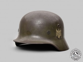 Germany, Heer. An M40 Double-Decal Steel Helmet, Owner-Attributed, by F.W. Quist