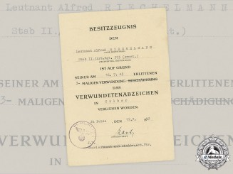 Germany, Heer. A Silver Grade Wound Badge Award Document to Leutnant Alfred Riechelmann, Anti-Partisan Unit