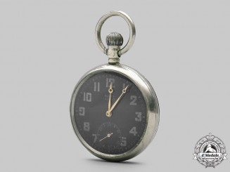 United Kingdom. A Rare Army Issued Rolex GS MK II Pocket Watch with Black & Gold Dial