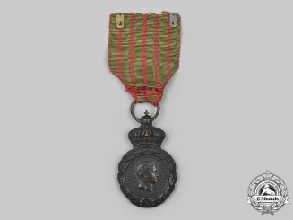 France, II Empire. St. Helena Medal, Bronze Grade with Period Ribbon
