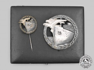 Germany, Kriegsmarine. A Blockade Runner Badge, with Stick Pin Miniature and Case, by Schwerin