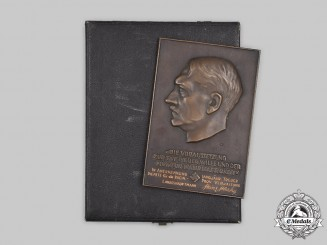 Germany, Third Reich. A Commemorative AH Wall Plaque, with Landeshauptmann Heinz Haake Dedication