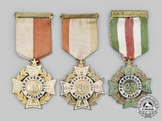 "Mexico, United Mexican States. Three Armed Forces Long Service ""Perseverance"" Crosses, c.1940"