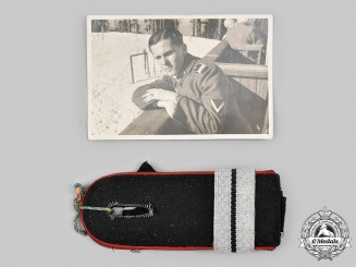 Germany, Heer. A Set of Heer Flak/Artillery Officer Candidate Shoulder Straps, with Owner Photo