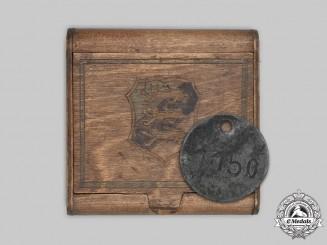 Estonia. An Estonian Collaborator POW Trench Art Box and Identity Tag