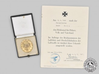 Germany, Luftwaffe. A Gold Grade Wound Badge, with Hero's Death Certificate, to Obergefreiter Ernst Hein