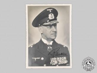 Germany, Kriegsmarine. A Wartime Signed Portrait of Großadmiral Erich Raeder
