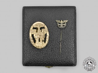 Germany, Third Reich. A Rare Defence Economy Leader Badge, with Case and Stick Pin Miniature