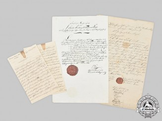 Prussia, Kingdom. Three Documents to Second Lieutenant Fedor von Luck, 1807/1821
