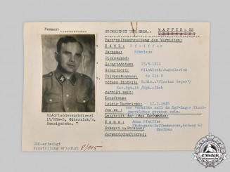 Germany, SS. A HIAG Tracing Service File for Nikolaus Pfeiffer