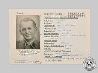 Germany, SS. A HIAG Tracing Service File for SS-Unterscharführer Hans Rempf
