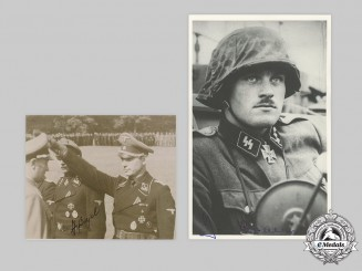 Germany, SS. A Pair of Postwar-Signed Photos of Knight's Cross Recipients