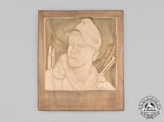 Germany, Heer. A Gebirgsjäger Hand-Carved Wooden Relief