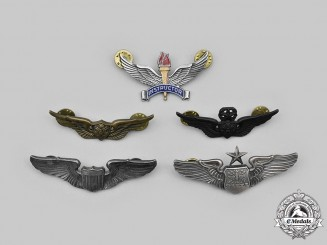 United States. A Lot of Five Air Force and Army Aviation Badges