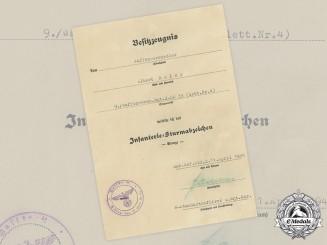 Germany, SS. An Infantry Assault Badge Award Document to Albert Hofer, Latvian Waffen-SS Volunteer