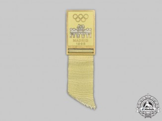 Spain, Facist State. A 63rd International Olympic Committee Session at Madrid Delegate's Badge 1965, Named to Lewis Luxton of Australia