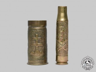 Slovakia, I Republic. A Pair of  Trench Art Brass Shell Cases 1943