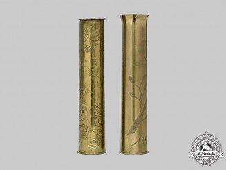 Slovakia, I Republic. A Pair of Russian Front Trench Art Brass Shell Cases