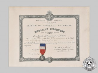 France, III Republic. A Ministry of Commerce and Industry Honour II Class, Silver Grade Medal and Award Document