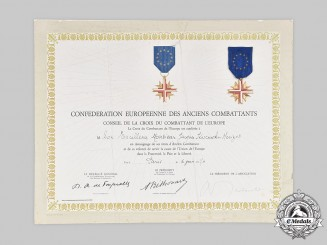France, V Republic. A Cross of the European Confederation to French Ambassador to the United States