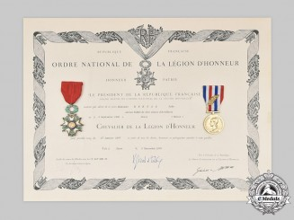 France, V Republic. Two Awards Mounted to a Named Award Document