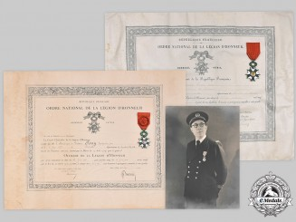 France, III Republic. An Order of the Legion of Honour, IV and V Classes, Officer and Knight, with Award Documents, Named to a French Navy First Lieutenant