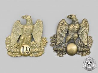 France, I Empire. Two Artillery of the Grande Armée Shako Plates
