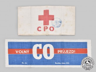 Czechoslovakia, Republic. Two Bohemia and Moravia (Böhmen und Mähren = BuM) Civil Defence Armbands