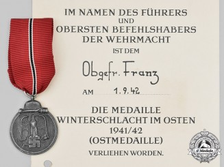 Germany, Wehrmacht. An Eastern Front Medal, with Award Document, to Obergefreiter Franz