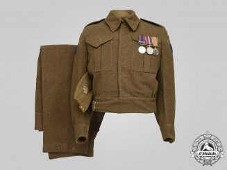 Canada, Commonwealth. A Battle Dress Uniform & Side Cap, VIII RECCE, Essex Scottish Regiment