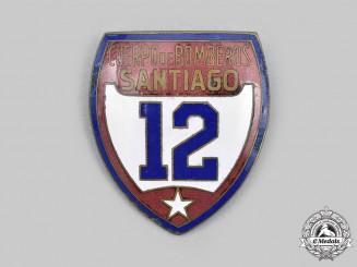 Chile, Republic. A Santiago Fire Department Badge