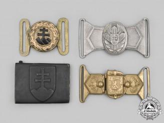 Czechoslovakia, Slovakia. A Lot of Four Belt Buckles