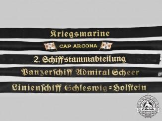 Germany, Kriegsmarine. A Lot of Cap Tally Ribbons