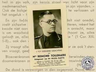Germany, SS. A Death Card to SS-Untersturmführer Reimond Tollenaere, Flemish Legion Volunteer