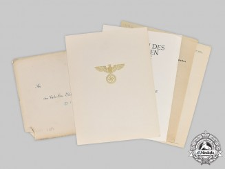 Germany, Third Reich. An Award Document for Order of the German Eagle, Merit Medal with Swords, to a Spanish Recipient