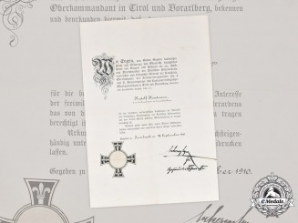 Austria, Imperial. A Teutonic Order Marian Cross Award Document to Hauptmann Kundmann, 1910