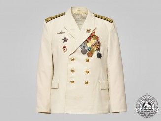Russia, Soviet Union. A Naval Captain's Tunic, First Rank with Awards, Submarine Personnel