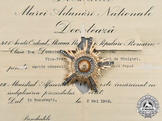Romania, Republic. The Order of the Star of the People's Republic, I Class to Gheorghe Gheorghiu-Dej, 1948
