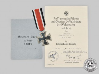 Germany, Wehrmacht. A 1939 Iron Cross II Class, with Award Document