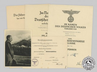 Germany, NSKOV. The Award Documents to NSKOV Official Wilhelm Otte, with an AH Signed Photo