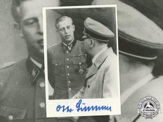 Germany, SS. A Postwar Signed Photo of SS-Sturmbannführer Otto Günsche