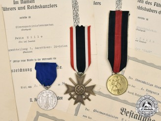 Germany, Kriegsmarine. A Lot of Decorations and Award Documents to Felix Hille
