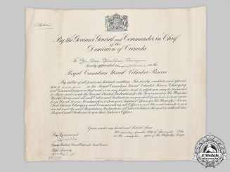 Canada, Commonwealth. A Commission Document, Named to Temporary Sub-Lieutenant Peter MacRae Pangman, RCNVR, 1944