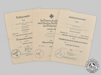 Germany, Heer. A Lot of Award Documents to Johann Semrad, Battle of Kursk WIA